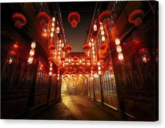 Chinese New Year Canvas Print - Jinli Street, Chengdu, Sichuan, China by Kiszon Pascal