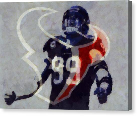 University Of Wisconsin - Madison Canvas Print - Jj Watt Houston Texans by Dan Sproul