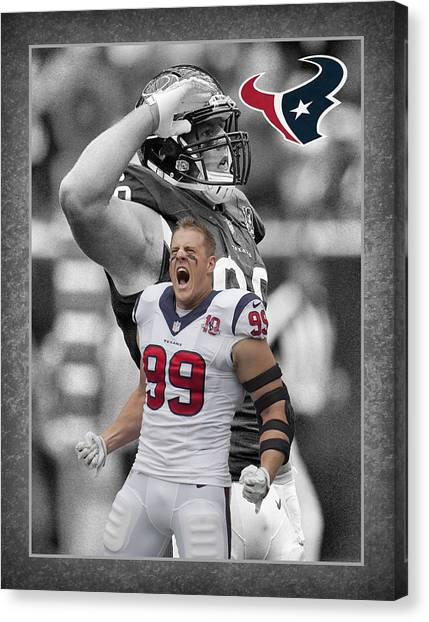 Houston Texans Canvas Print - Jj Watt Texans by Joe Hamilton