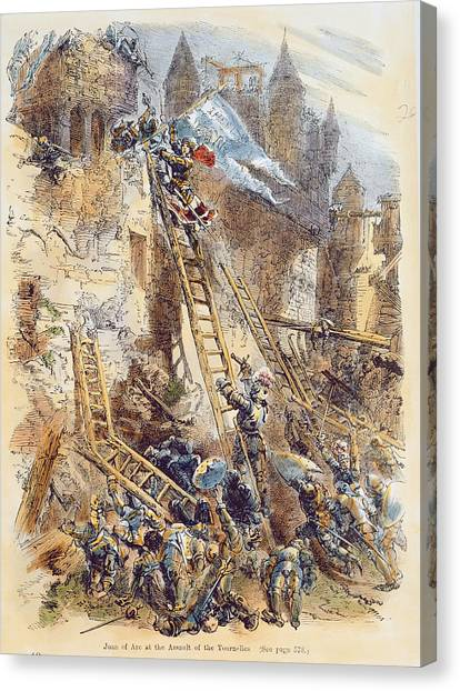 Fortification Canvas Print - Joan Of Arc At The Assault Of The Tournelles Colour Litho by English School