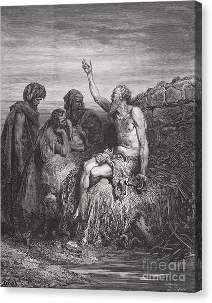 Holy Bible Canvas Print - Job And His Friends by Gustave Dore
