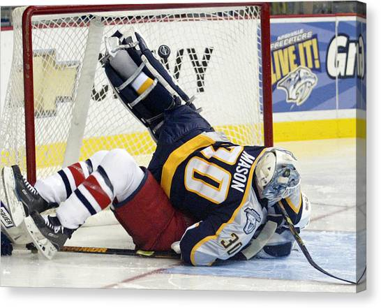 Nashville Predators Canvas Print - Job One Is Stop The Puck by Don Olea