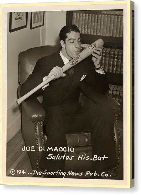 Joe Dimaggio Canvas Print - Joe Dimaggio And His Bat by Mountain Dreams