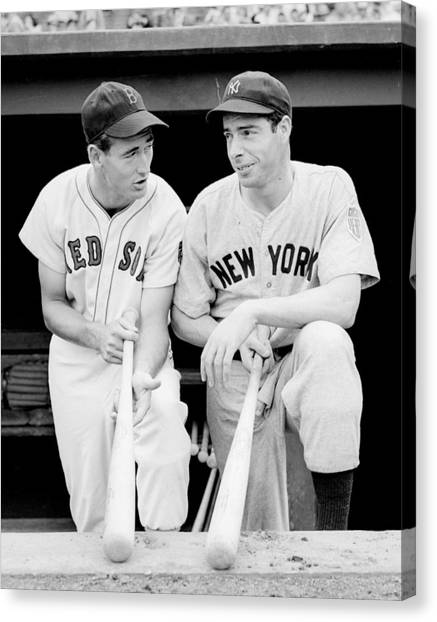 Joe Dimaggio Canvas Print - Joe Dimaggio And Ted Williams by Gianfranco Weiss