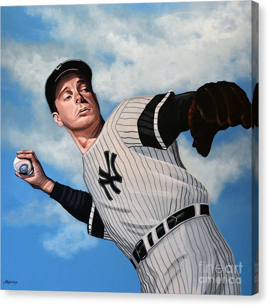 Bat Canvas Print - Joe Dimaggio by Paul Meijering