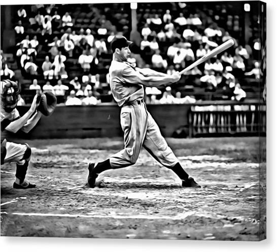 Joe Dimaggio Canvas Print - Joe Dimaggio Swing by Florian Rodarte