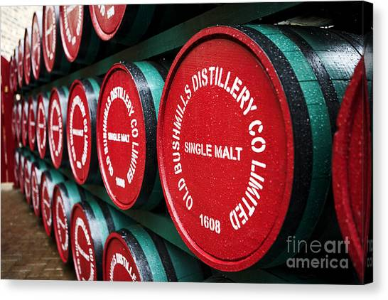 Rain Barrel Canvas Print - Joe Fox Fine Art - Single Malt Whiskey Barrels Of Old Bushmills Distillery Northern Ireland by Joe Fox