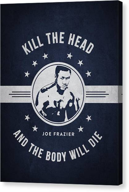 Joe Frazier Canvas Print - Joe Frazier - Navy Blue by Aged Pixel