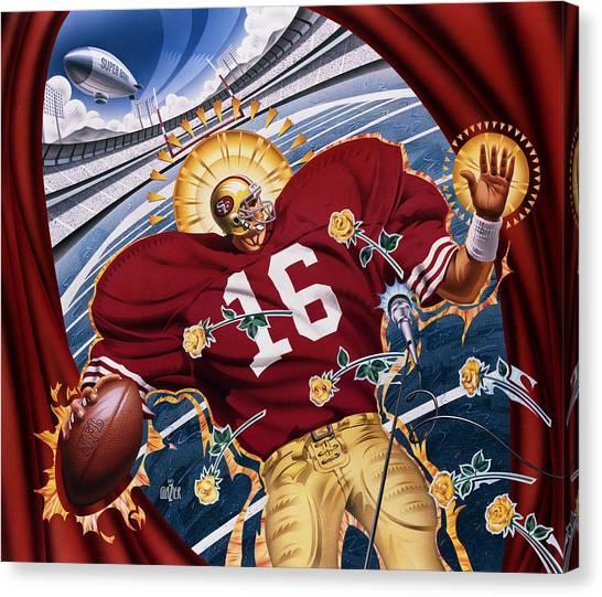 San Francisco Giants Canvas Print - Joe Montana And The San Francisco Giants by Garth Glazier