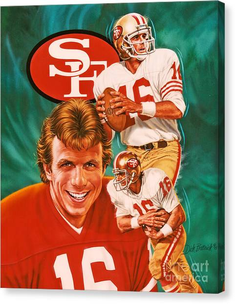 Quarterbacks Canvas Print - Joe Montana by Dick Bobnick
