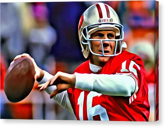Running Backs Canvas Print - Joe Montana by Florian Rodarte