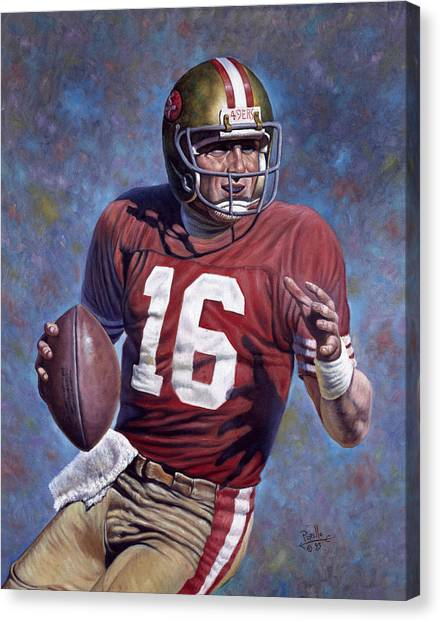 Kansas City Chiefs Canvas Print - Joe Montana by Gregory Perillo