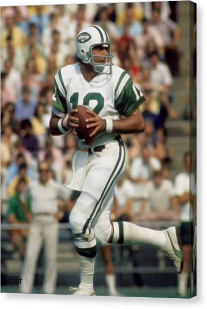 New York Jets Canvas Print - Joe Namath by Paint Splat