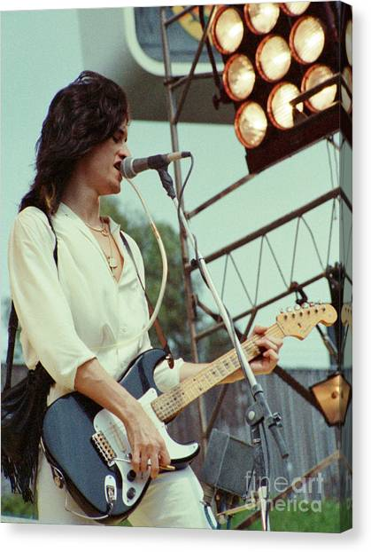 Aerosmith Canvas Print - Joe Perry Of Aerosmith At 1979 Monsters Of Rock In Oakland Ca by Daniel Larsen
