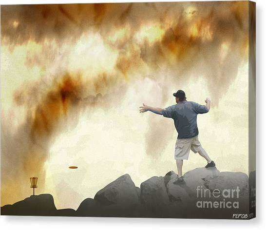 Disc Golf Canvas Print - Joe Vs. The Volcano by Phil Perkins