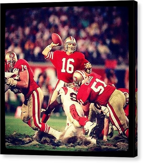 Joe Montana Canvas Print - Super Bowl Xxiii Jan 22 by Oscar Lopez