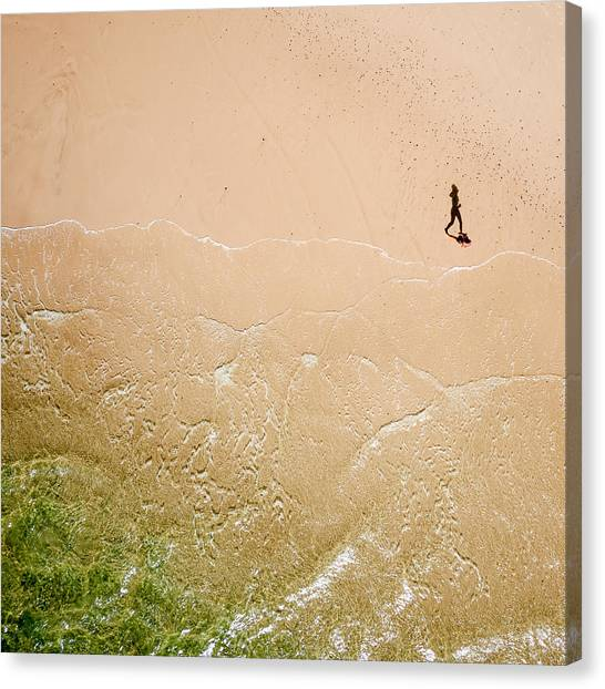 Jogger On Tallow Beach. Byron Bay. Australia. Canvas Print