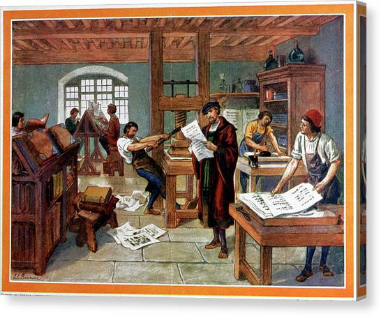Canvas Print - Johann Gutenberg's Printing Press by Cci Archives/science Photo Library