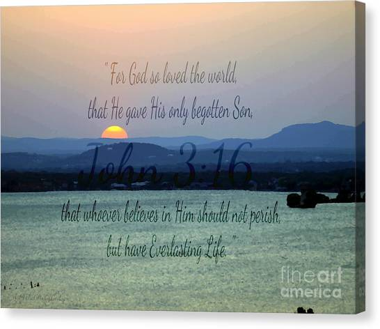 John 3 16 Lake Sunset Canvas Print