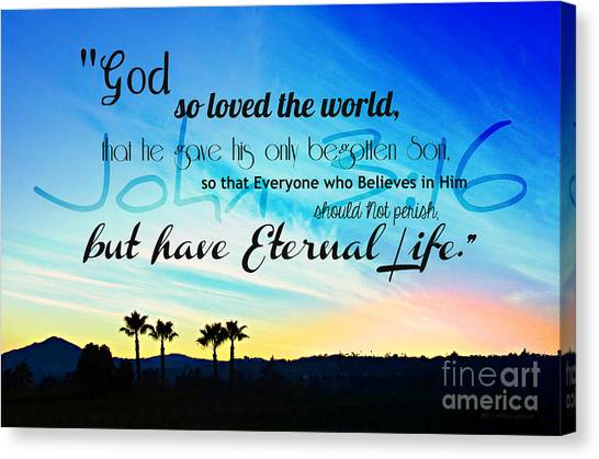 John 3 16 With Palm Trees  Canvas Print