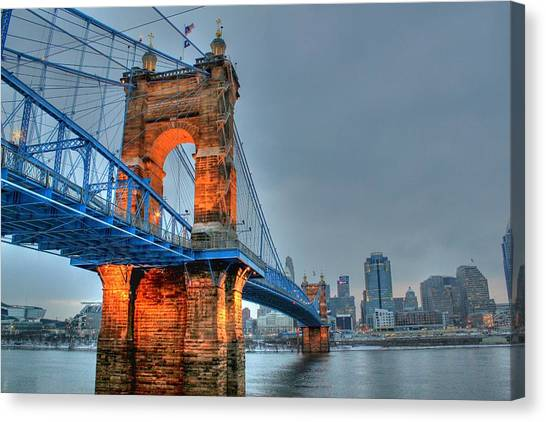 John A Roebling Suspension Bridge Cincinnati Ohio Canvas Print