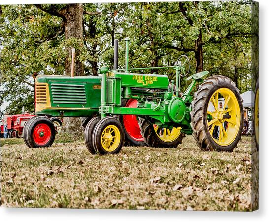 Tractors Canvas Print - John Deere 1935 General Purpose Tractor With Oliver Row Crop 77 by Jon Woodhams