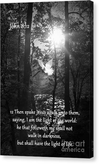 Bible Verses Canvas Print - John Eight Twelve by Lena Auxier