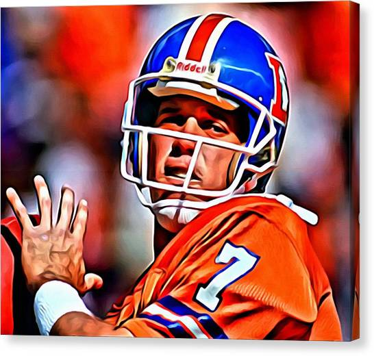 Running Backs Canvas Print - John Elway by Florian Rodarte