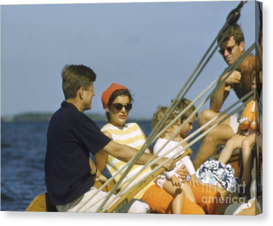 First Ladies Canvas Print - John F. Kennedy Boating by The Harrington Collection