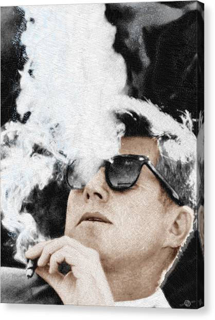 President Canvas Print - John F Kennedy Cigar And Sunglasses by Tony Rubino