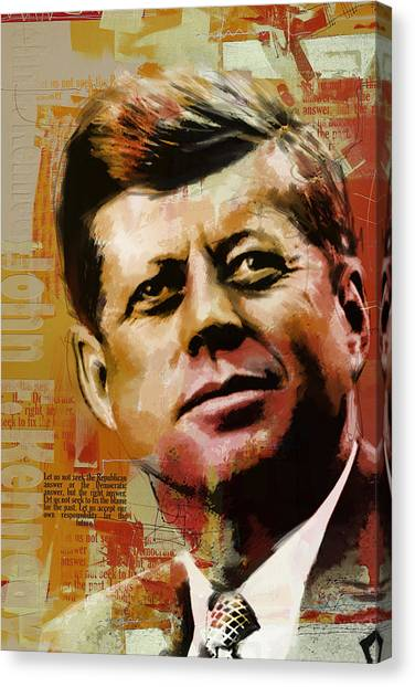 Democratic Presidents Canvas Print - John F. Kennedy by Corporate Art Task Force