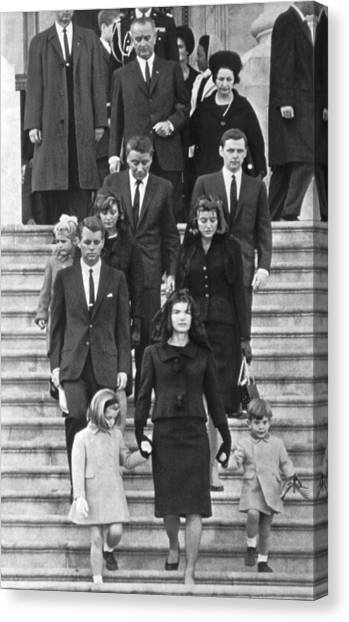 Lyndon Johnson Canvas Print - John F. Kennedy Funeral by Underwood Archives