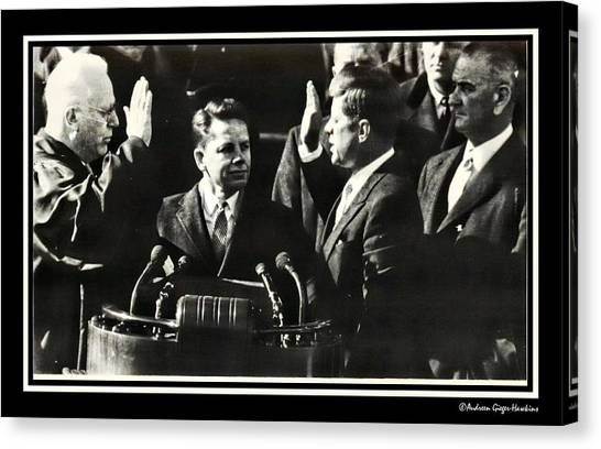 John F Kennedy Takes Oath Of Office Canvas Print
