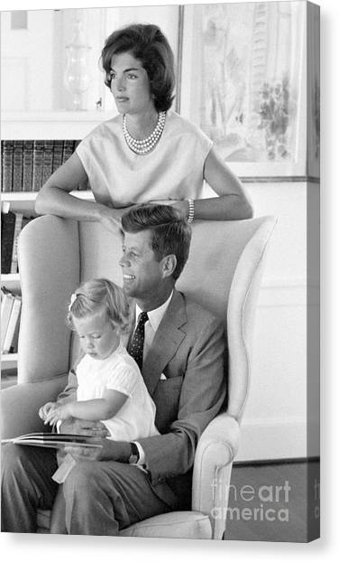 Democratic Presidents Canvas Print - John F. Kennedy With Jacqueline And Caroline 1959 by The Harrington Collection