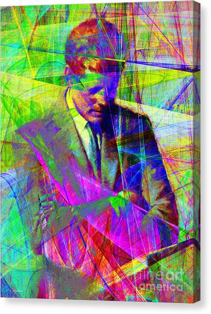 Canvas Print featuring the photograph John Fitzgerald Kennedy Jfk In Abstract 20130610v2 by Wingsdomain Art and Photography