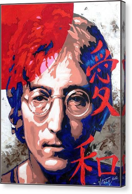 John Lennon - A Man Of Peace. The Number Three. Canvas Print by Vitaliy Shcherbak