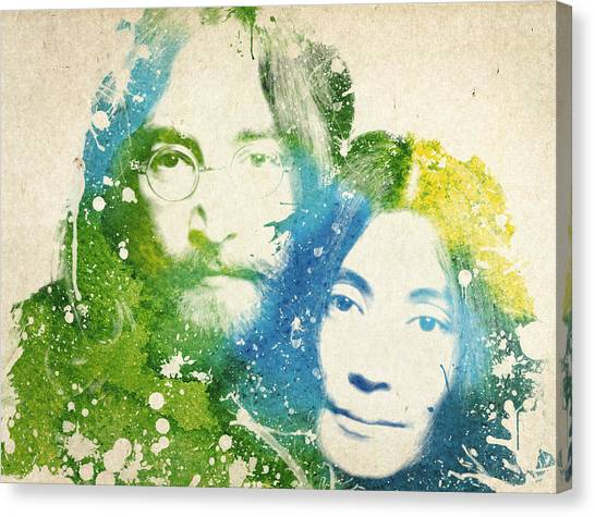 Paul Mccartney Canvas Print - John Lennon And Yoko Ono by Aged Pixel