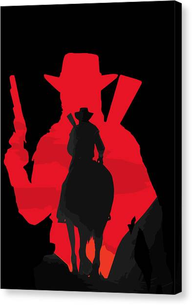 Playstation Canvas Print - John Marston Silhouette by Danilo Caro