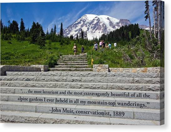 John Muir Quote At Mt Rainier Canvas Print