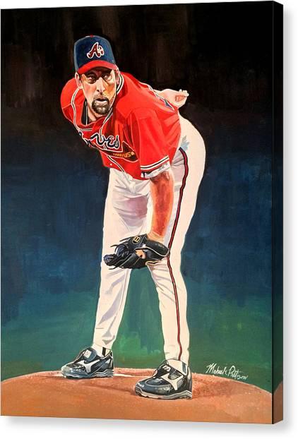 Atlanta Braves Canvas Print - John Smoltz - Atlanta Braves by Michael  Pattison