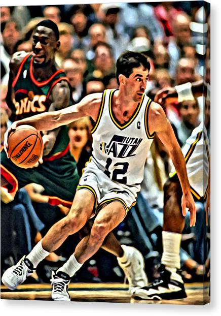 Utah Jazz Canvas Print - John Stockton by Florian Rodarte