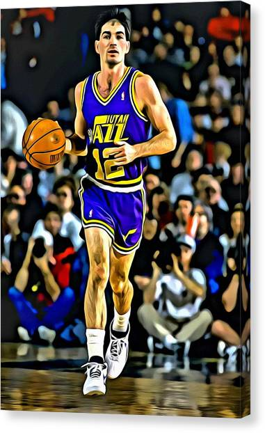 Utah Jazz Canvas Print - John Stockton Portrait by Florian Rodarte