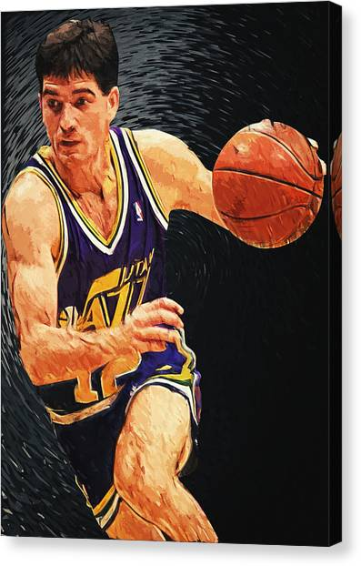 Utah Jazz Canvas Print - John Stockton by Zapista