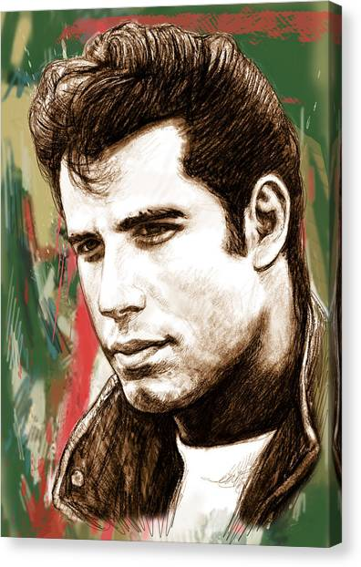 John Travolta - Stylised Drawing Art Poster Canvas Print by Kim Wang