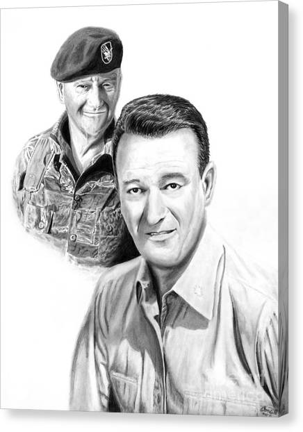 Green Berets Canvas Print - John Wayne by Peter Piatt