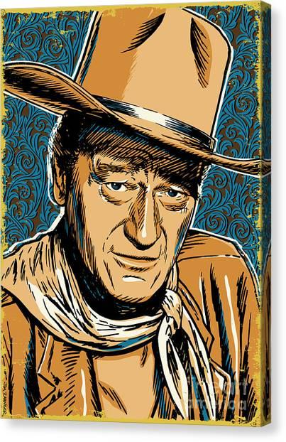 Cowboy Canvas Print - John Wayne Pop Art by Jim Zahniser