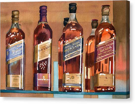 Drinks Canvas Print - Johnnie Walker by Mary Helmreich