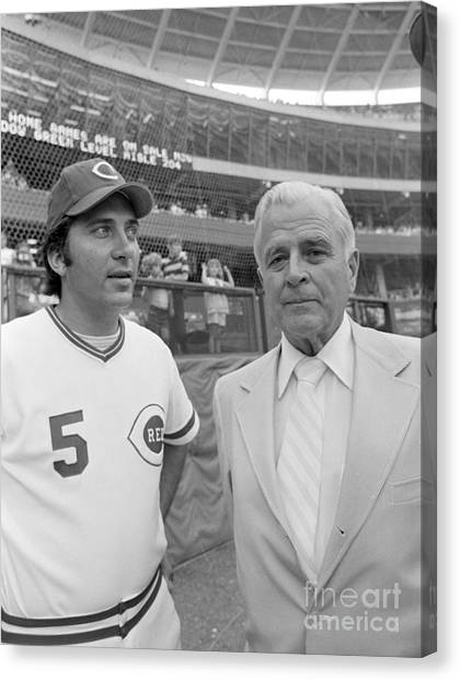 Cincinnati Reds Canvas Print - Johnny Bench And Louis Nippert by The Harrington Collection