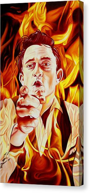 Johnny Cash Canvas Print - Johnny Cash And It Burns by Joshua Morton