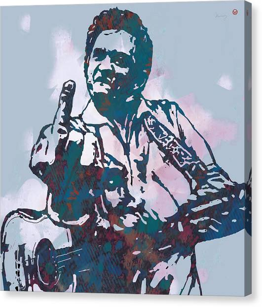 Johnny Cash Canvas Print - Johnny Cash - Stylised Etching Pop Art Poster by Kim Wang